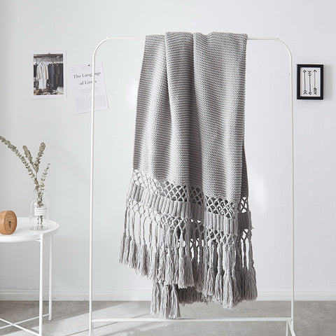 Tassel Hollow Knitted Blanket