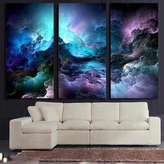 HD Printed 3 Piece Canvas Art Abstract Psychedelic Nebula Space Painting Decor Panel Paintings