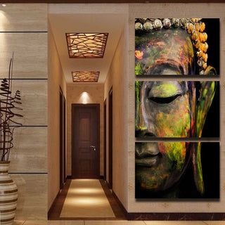 HD Printed 3 Piece Canvas Wall Art Buddha Meditation Painting Statue Art Canvas Prints