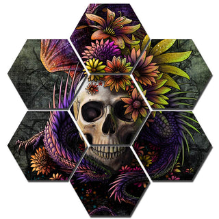 Flower Skull Print by Sunima Art HD Prints Home Decor 7 Pieces Gorgeous Halloween theme skull Canvas Paintings Wall Art Pictures