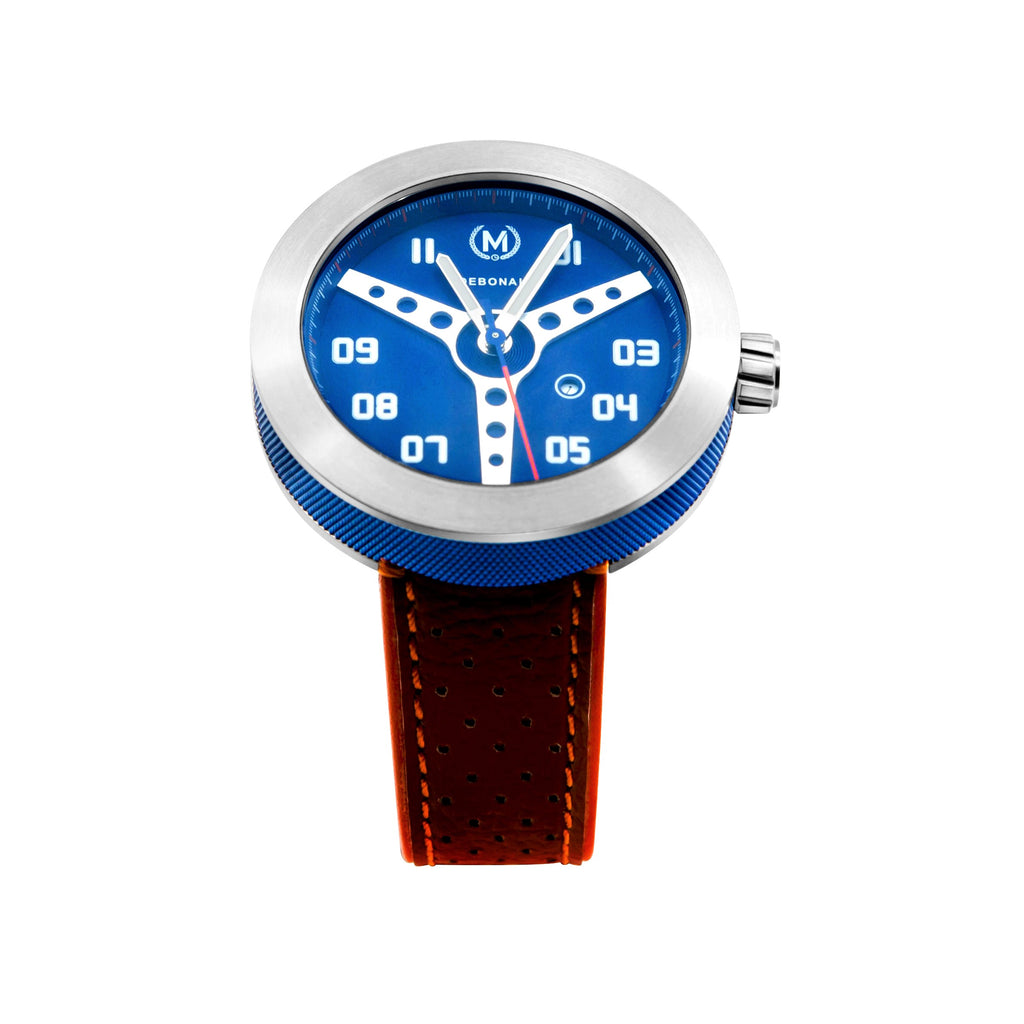 BLUE WITH ORANGE STRAP DEBONAIR - Marchand Watch Company