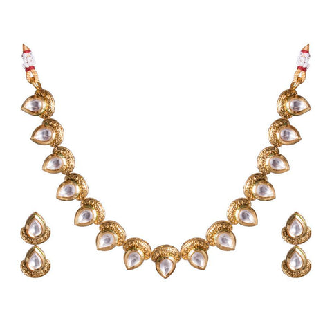 Glittering Kundan Tear drop Necklace Set
