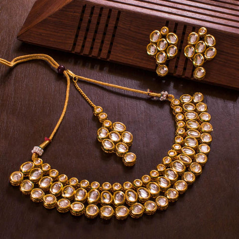 Kundan stone bright necklace set