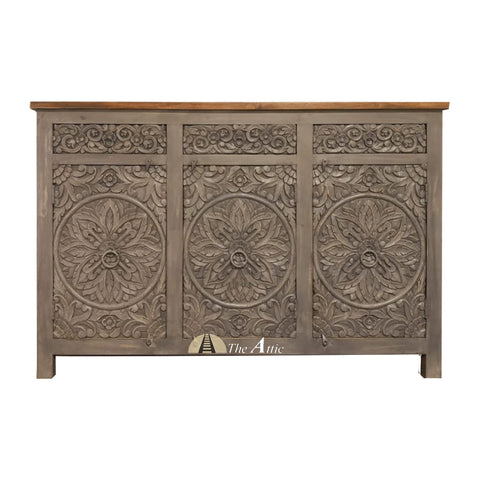 Grey 3-Door 3-Drawer Carved Circles Credenza with Brown Counter Top