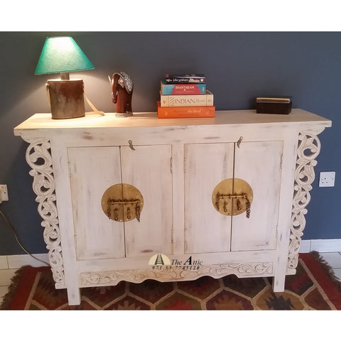 Oriental Carved White and Gold 2-Door Buffet Cabinet
