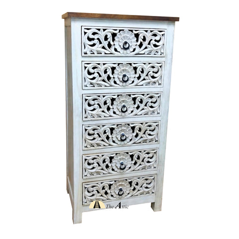Tall Carved Console Chest of 6 Drawers