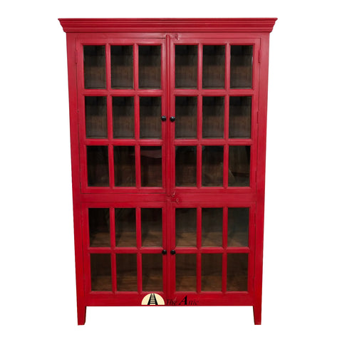 Red Hutch Tall Cabinet Rojo Red