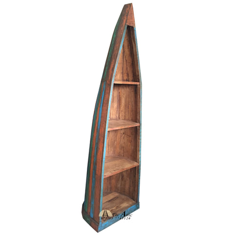 Rustic Reclaimed Old Wood Boat Bookcase With Three Shelves Indian