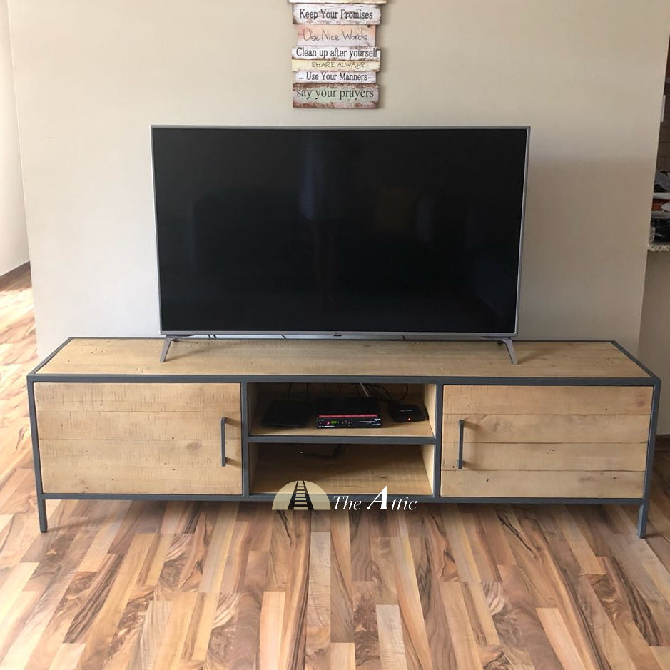 Gaia large Industrial reclaimed timber pine wood TV stand unit media console