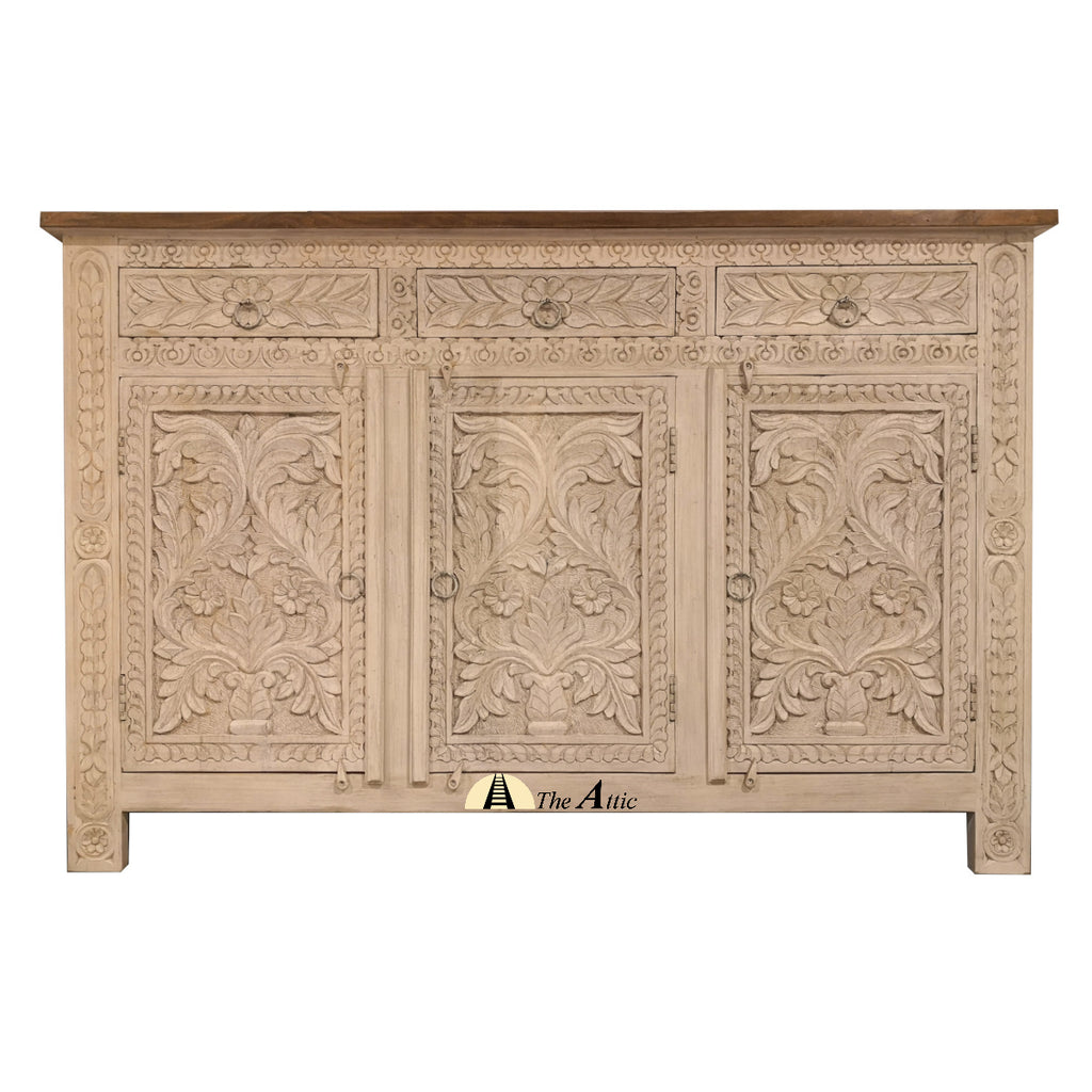 Beige Carved 3-Door 3-Drawer Credenza