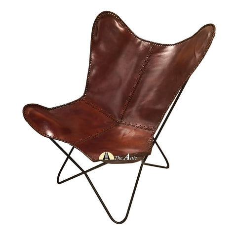 Tan Genuine Leather Butterfly Chair