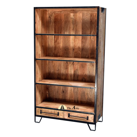 Industrial Bookshelf with 2 Drawers