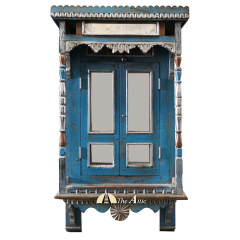 Vintage Blue Ornate Jharokha Window Mirror