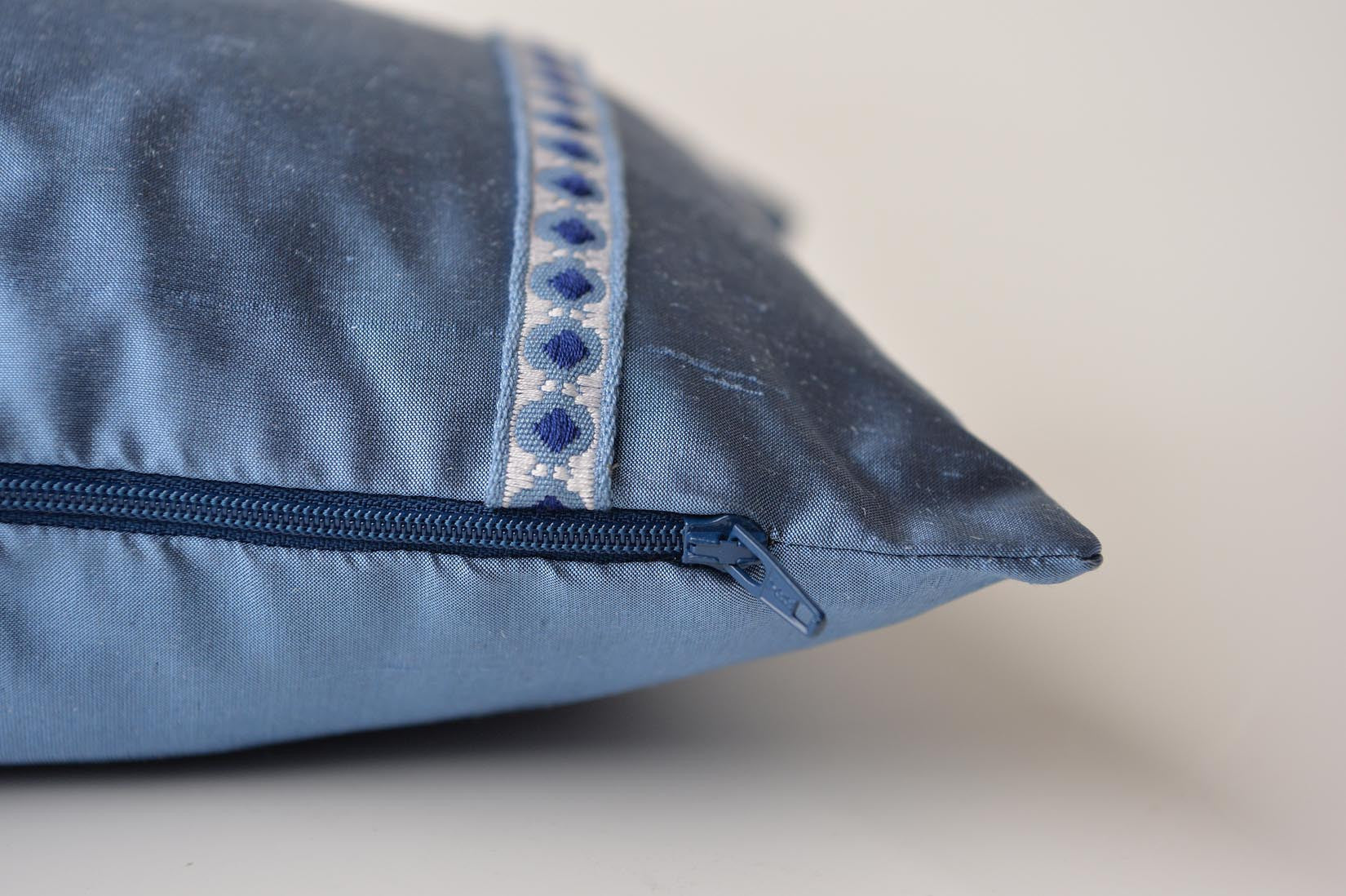 """Carreau"" Rivera blue silk cushion - MyBilletDoux.com"
