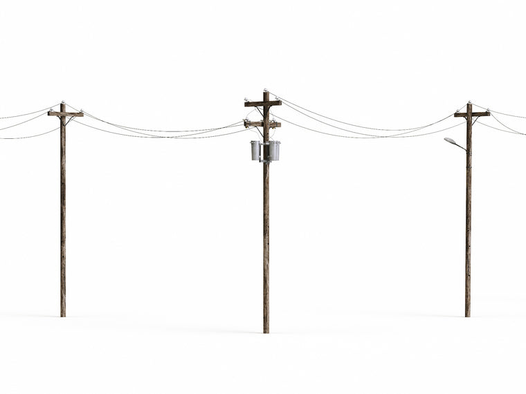 Wooden Electric Poles Set