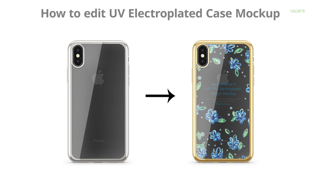 How to edit UV Electroplated Case Design Mockup PSD | VecRas