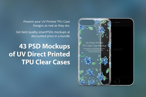 43 Mockups Bundle of UV TPU Clear Cases for Mobiles