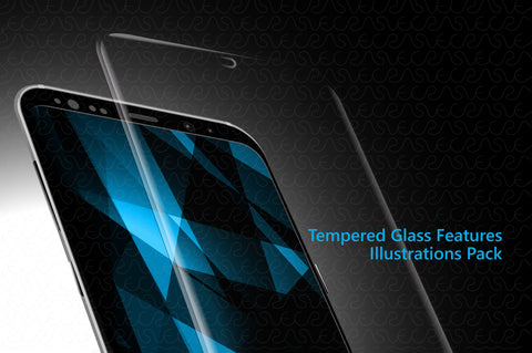 Tempered Glass Features Illustrations & Icons Pack