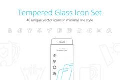 Mobile Tempered Glass Features Icons Set