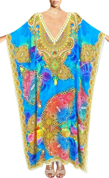Kaftan bright arabesque flowers.