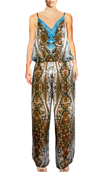 Jumpsuit python skin and bird feather