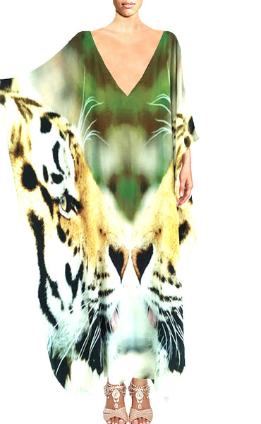 Kaftan in silk Charmeuse. Imperial Tigers