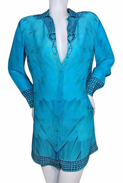 Turquoise silk shirt. Angel