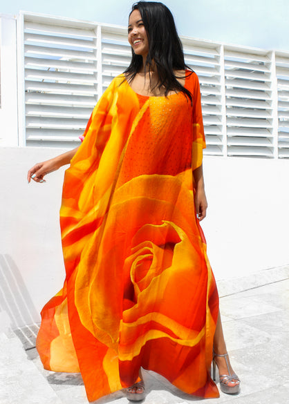 Kaftan in modal. Belle orange Roses