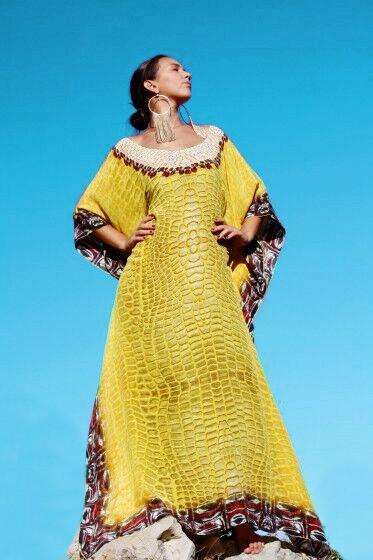 Noble yellow crocodile scale silk Kaftan. Crocodile