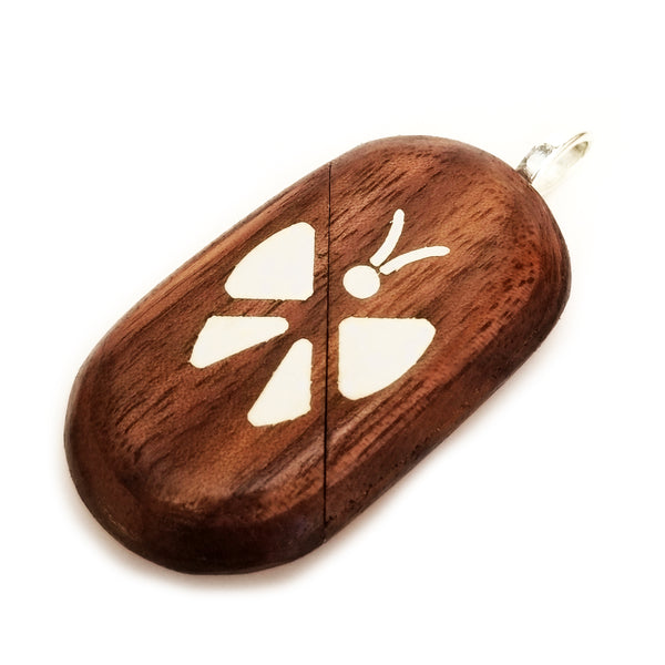 Illusionist Locket- Epoxy Butterfly/Flower (Walnut)