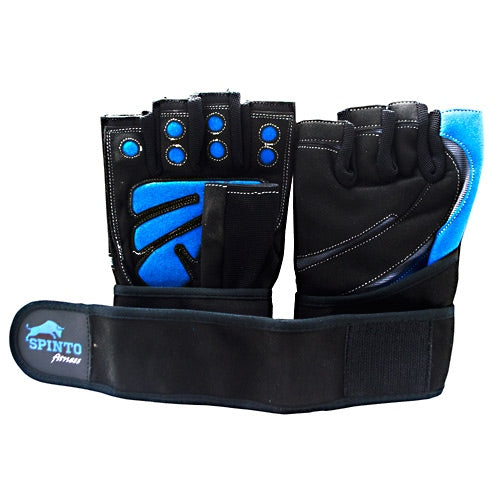 Spinto Mens Workout Glove w/ Wrist Wraps - Blue/Gray (MD) -   - 636655966028