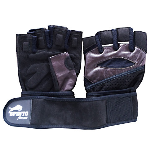 Spinto Mens Workout Glove w/ Wrist Wraps - Brown/Gray (MD) -   - 636655966066
