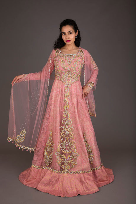 Rose-pink and gold embellished bridal gharara (XS-S)
