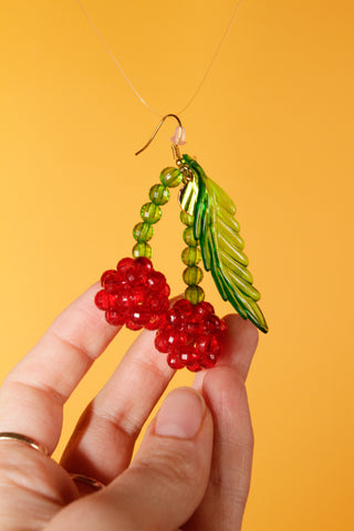 Lolita Earrings - Beaded Cherry Earrings
