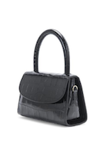 Mini - Black Croco Emobossed Leather