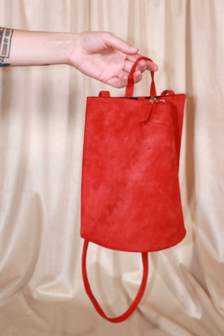 Pinch Bag - Red Suede
