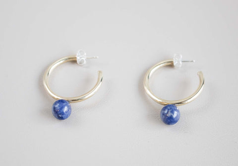 Large Asha Hoops - Sodalite