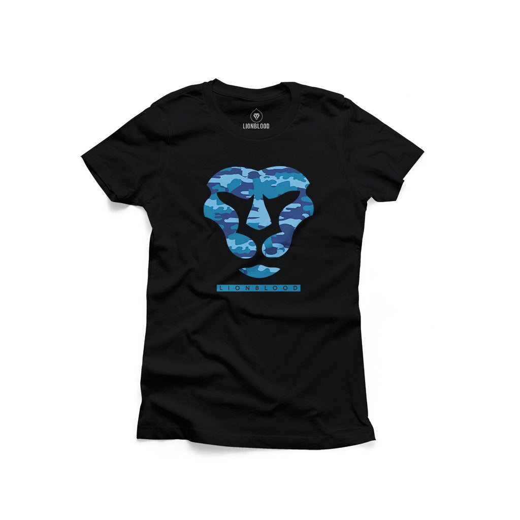 Camouflage Lionblood Lion Blue face T-Shirt king of the jungle