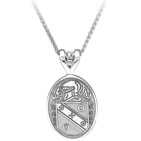 Sterling Silver Personalized Large Oval Family Crest Pendant Necklace