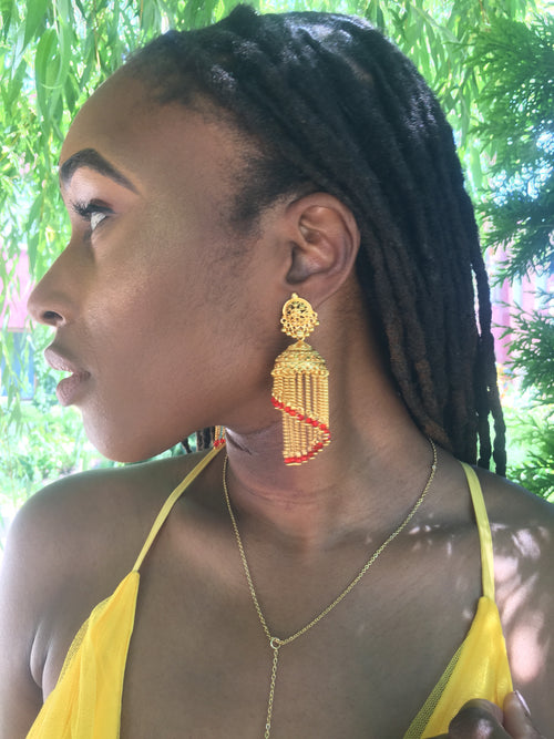Red Tiered Earrings