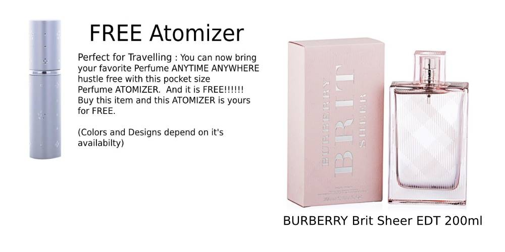 BURBERRY Brit Sheer EDT 200ml ( FREE Atomizer)