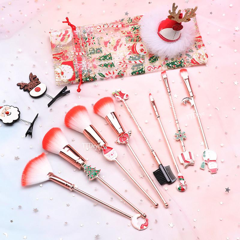 Christmas Makeup Brushes Set