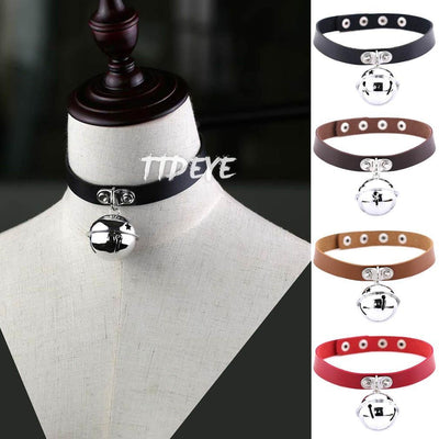 Punk bell Leather Choker Collar