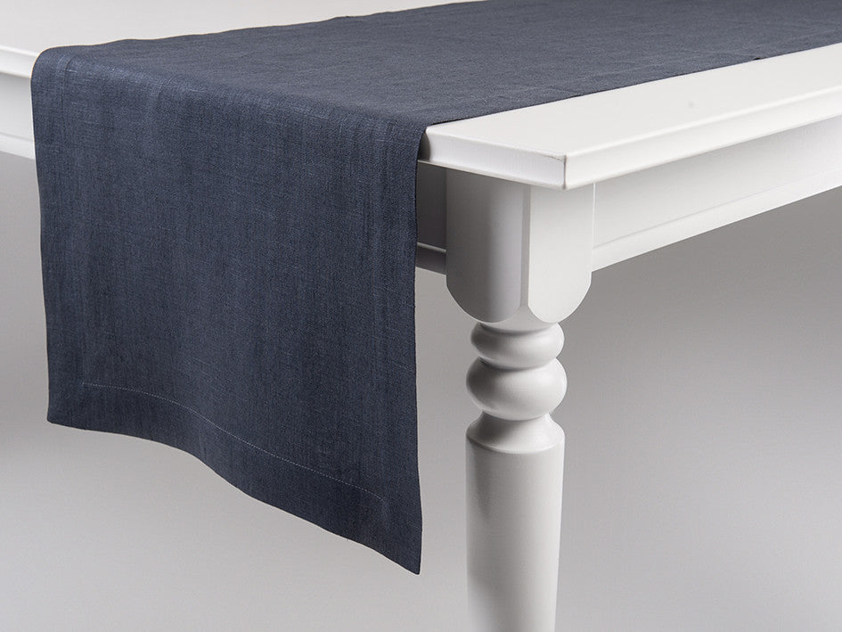 Charcoal linen table runner by Lovely Home Idea