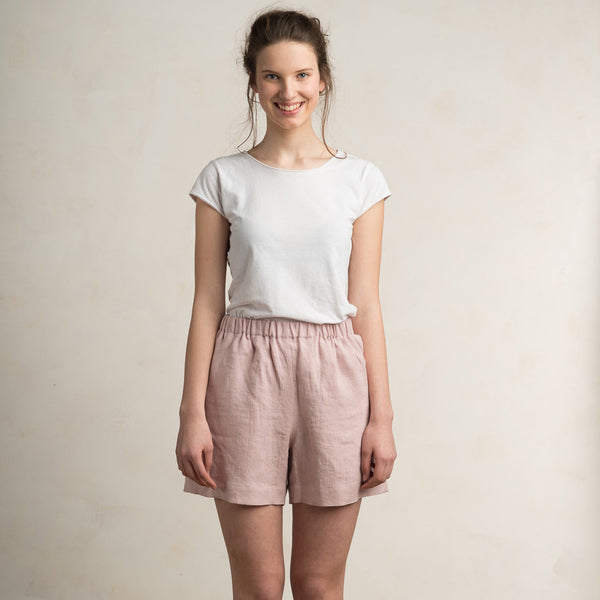 Dusty rose linen shorts for women by LHI