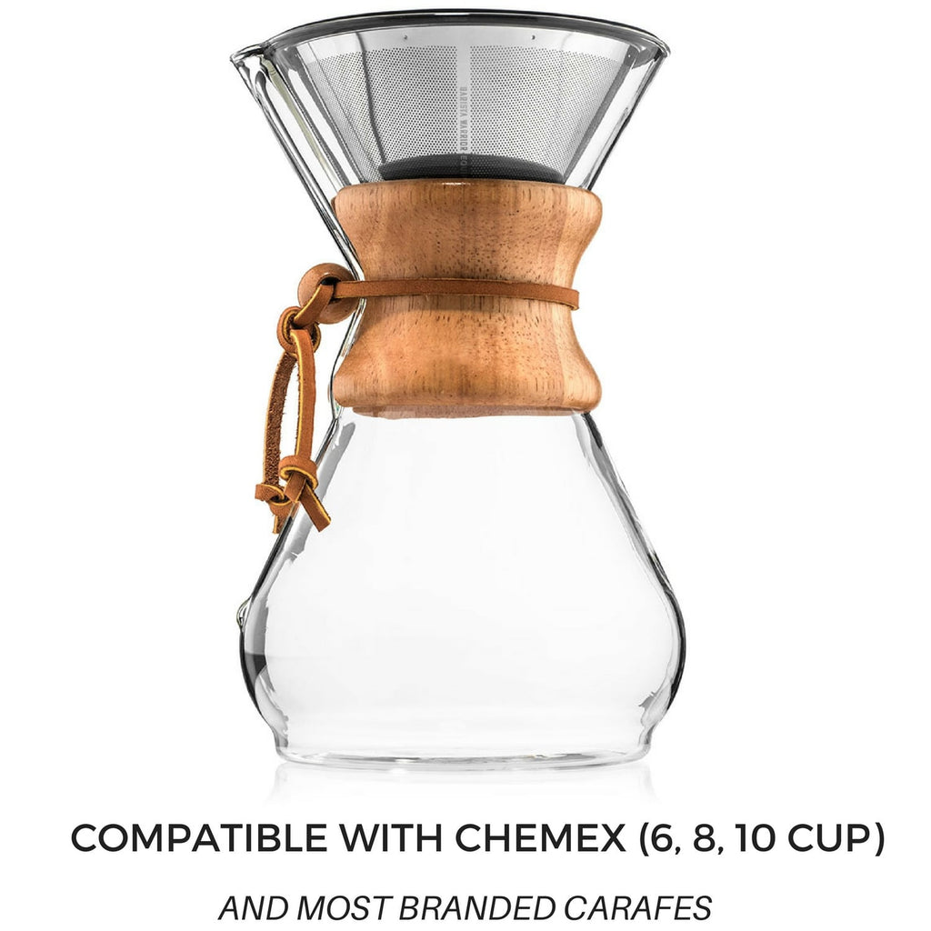 Reusable Pour Over Filter for Chemex and Hario V60 (Silver)