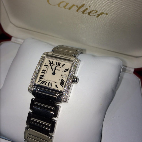 Cartier Tank Francaise with Diamond Bezel and Date