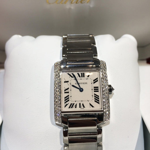 Ladies Midi Cartier Tank Francaise with Diamond Bezel