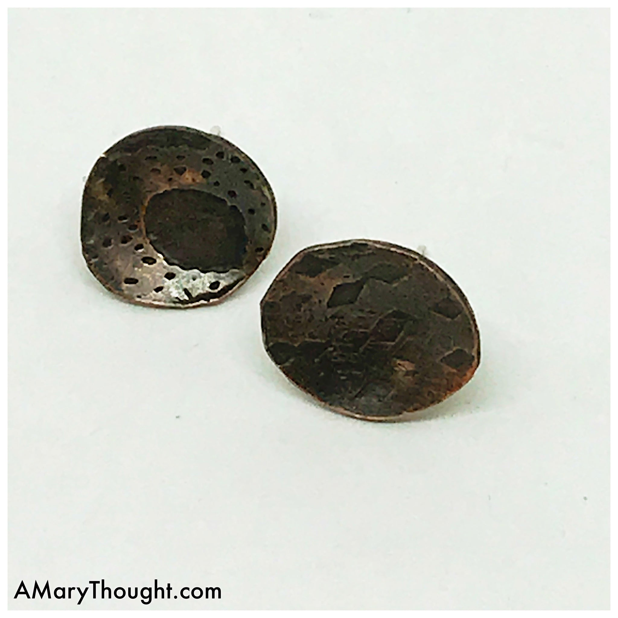 Earthy Rustic Copper Disc Post Earrings, Mixed Metal