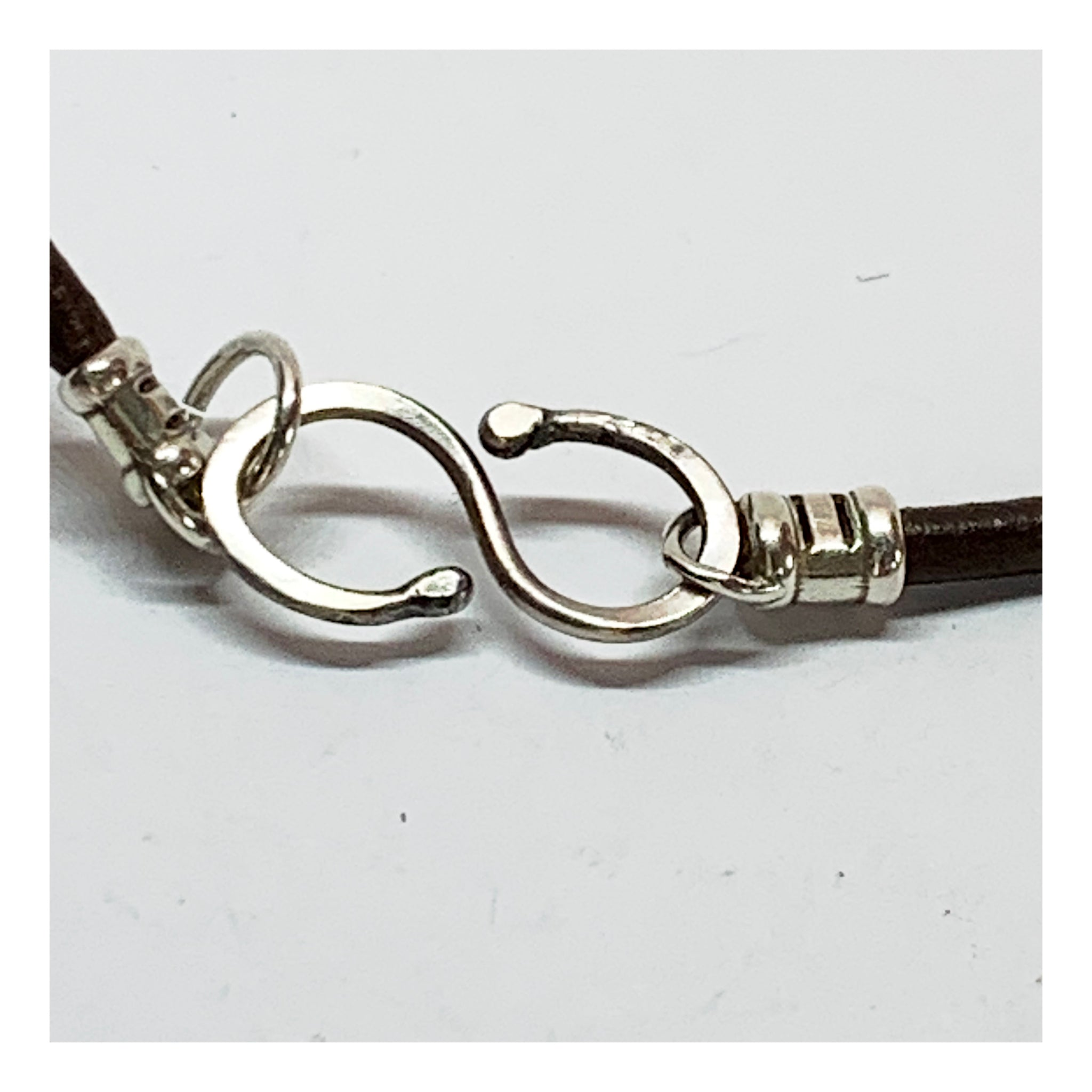 Extra Long Sterling Silver and Leather Necklace With Unusual Charm Pendant